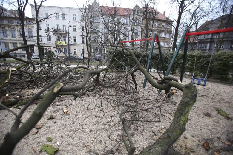 Nocna wichura uderzyła w plac Wolności w Katowicach. Prędkość wiatru w porywach dochodziła do 222 km/h
