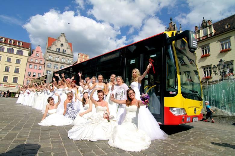 Wrocław i charytatywna sesja panien młodych na tle rynku i autobusu komunikacji miejskiej