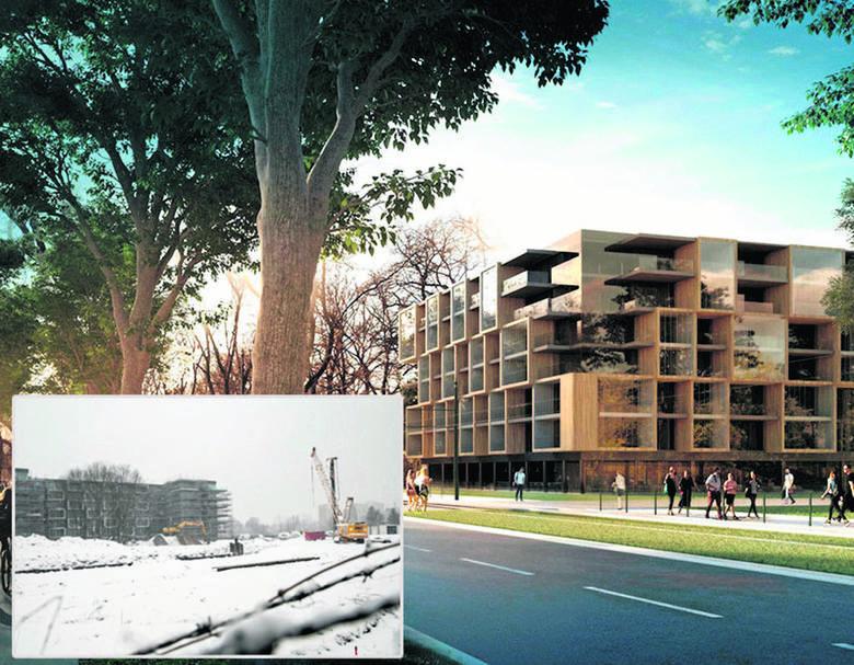 Nieopodal aparthotelu (na zdjęciu) ma stanąć drugi hotel - jak na wizualizacji. - Zabudowywanie okolic Błoń hotelami to wandalizm w białych rękawiczkach
