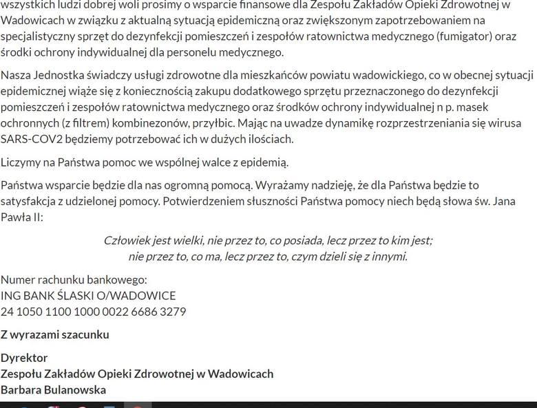 List otwarty dyrektor szpitala w Wadowicach