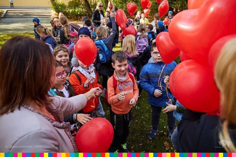 2,5 tysiąca czerwonych tulipanów zasadzono w poniedziałek w Parku im. księcia Józefa Poniatowskiego w Białymstoku, a w niebo pofrunęło 130 czerwonych