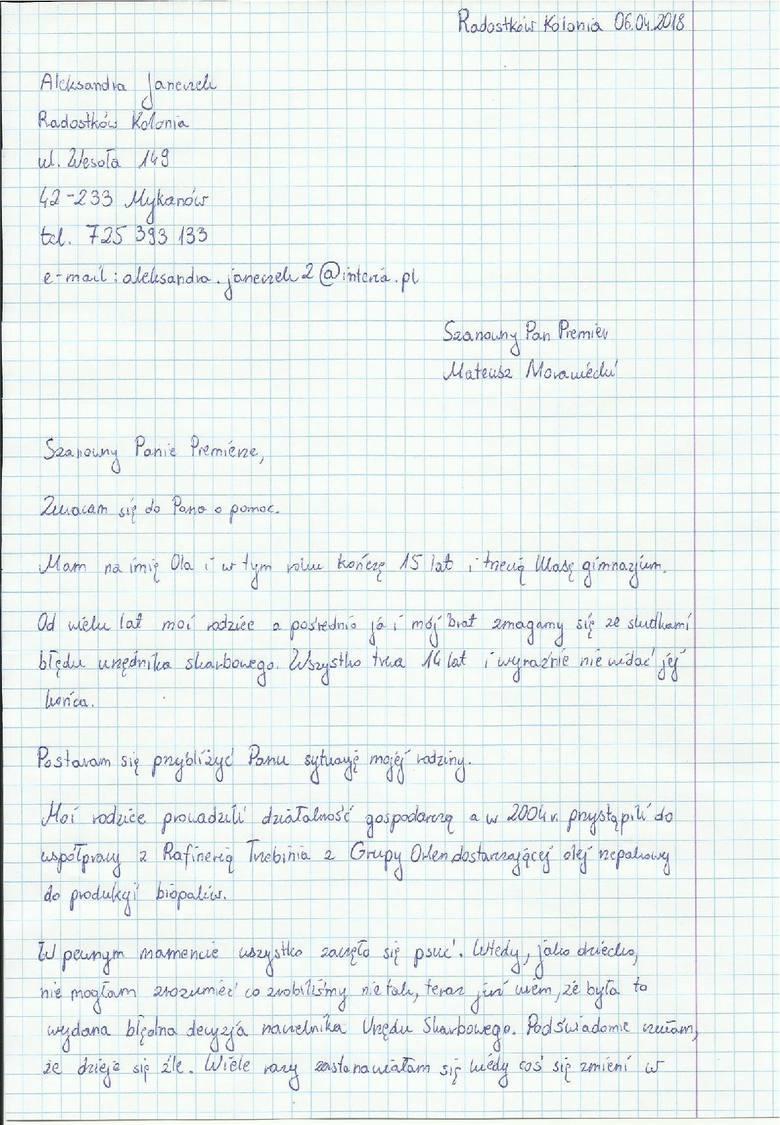 List nastolatki spod Częstochowy do premiera Morawieckiego. Błąd urzędnika skarbowego zniszczył firmę ojca Roberta Janeczka, niszczy rodzinę