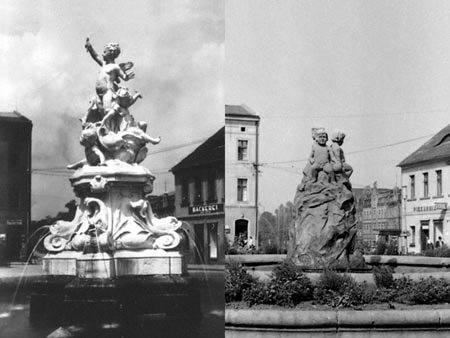 Przed wojną na mysłowickim rynku była fontanna, widoczna po lewej. Po wojnie pojawiła się ta z aniołkami (po prawej). Są one łudząco podobne do tych z Jaworzna. Czy to te same?