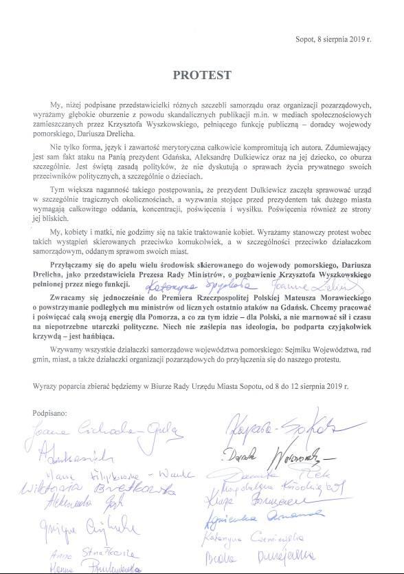 Protest przedstawicielek samorządu po słowach Wyszkowskiego o prezydent Dulkiewicz.