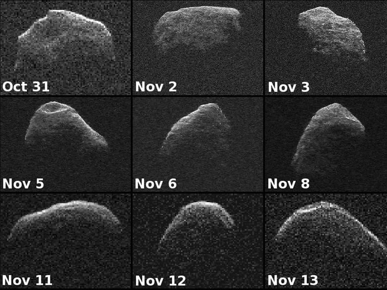Asteroida Apophis sfotografowana przez NASA w różnych etapach czasowych.
