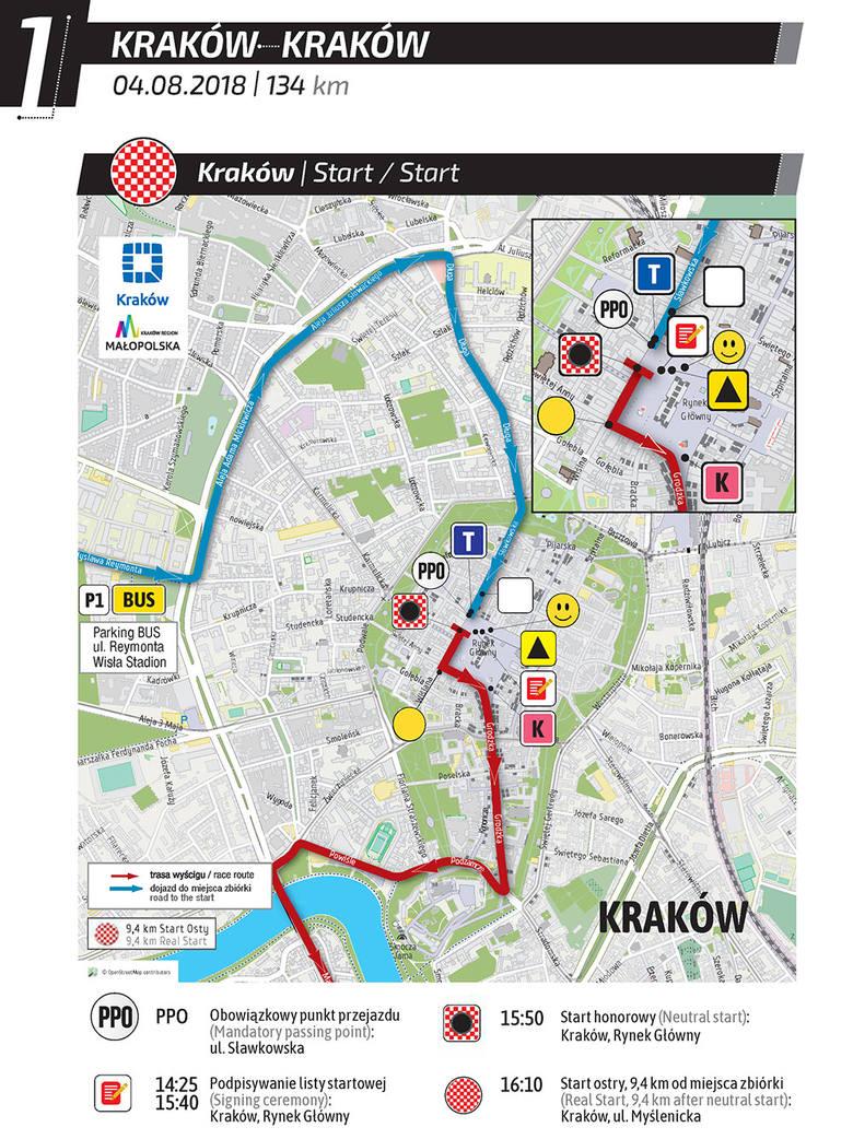 Tour de Pologne 2018: Etap 1 Kraków - Kraków TRASA, UTRUDNIENIA, MAPY