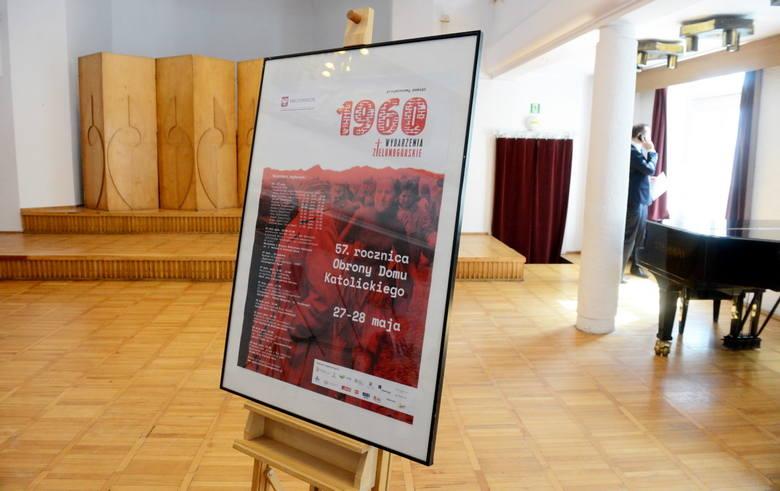 Konferencja prasowa w sprawie obchodów rocznicy Wydarzeń Zielonogórskich - plakat informujący o uroczystościach 28 maja.
