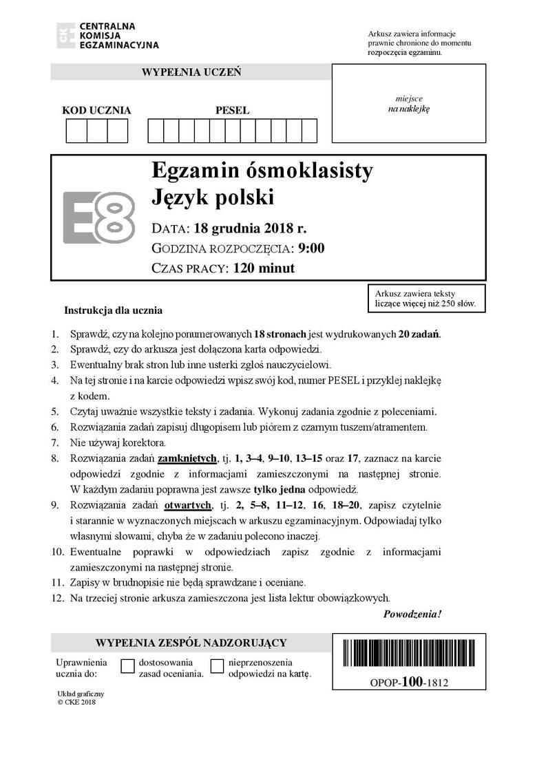 EGZAMIN ÓSMOKLASISTY 2019 ODPOWIEDZI JĘZYK POLSKI. Przecieki, arkusze CKE, rozwiązania [15.04.2019]