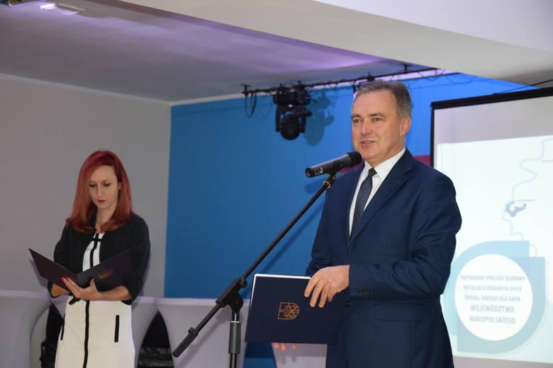 Rozpoczęcie projektu budowy instalacji OZE w gminie Kocmyrzów-Luborzyca. Uczestniczyli w nim przedstawiciele 41 małopolskich samorządów