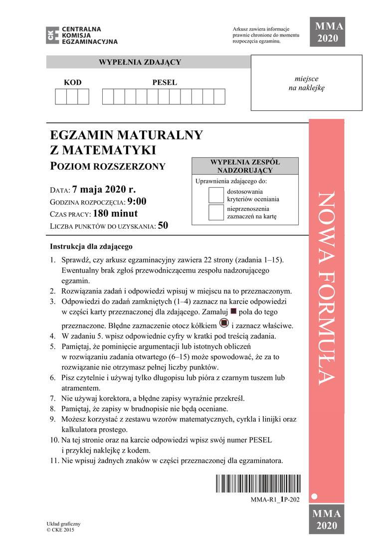 Matura 2020. Matematyka poziom rozszerzony. Jakie będą zadania? Arkusze CKE i odpowiedzi 15.06.2020