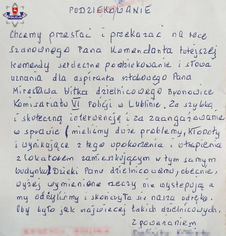 Lublin: dzielnicowy pomógł w rozwiązaniu sąsiedzkiego konfliktu