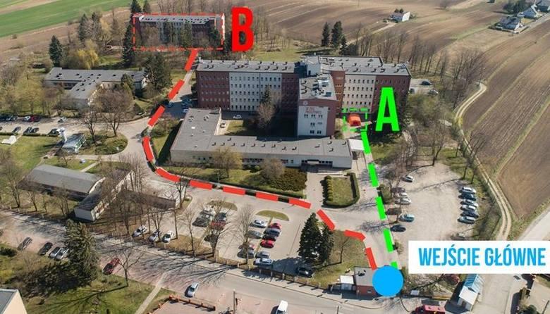 Grafika ilustrująca dwie ścieżki dla pacjentów szpitala w Proszowicach