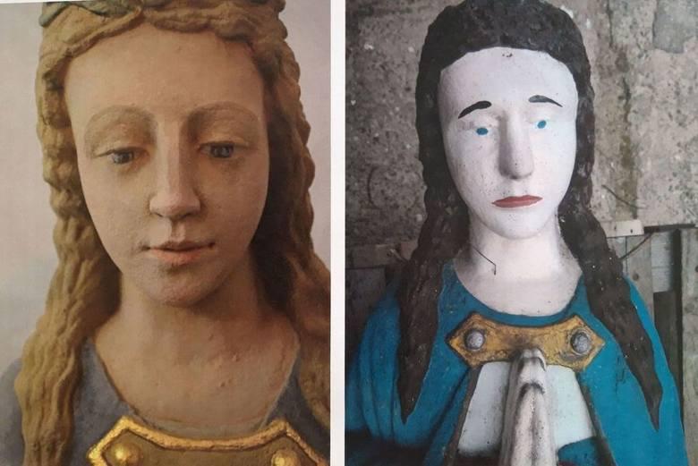 Na zdjęciach udostępnioch przez konserwatora zabytków przedstawiono zestawienie twarzy rzeźby. Widać na nich stopień zniszczenia kamienia pod skorupą