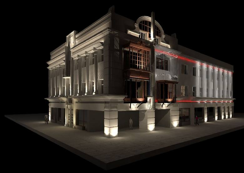 Wizualizacja przedstawia kamienicę już po remoncie i rozświetloną nową iluminacją. Piętrowy ogródek restauracji Piotrkowska Klub 97 pozostanie na swoim