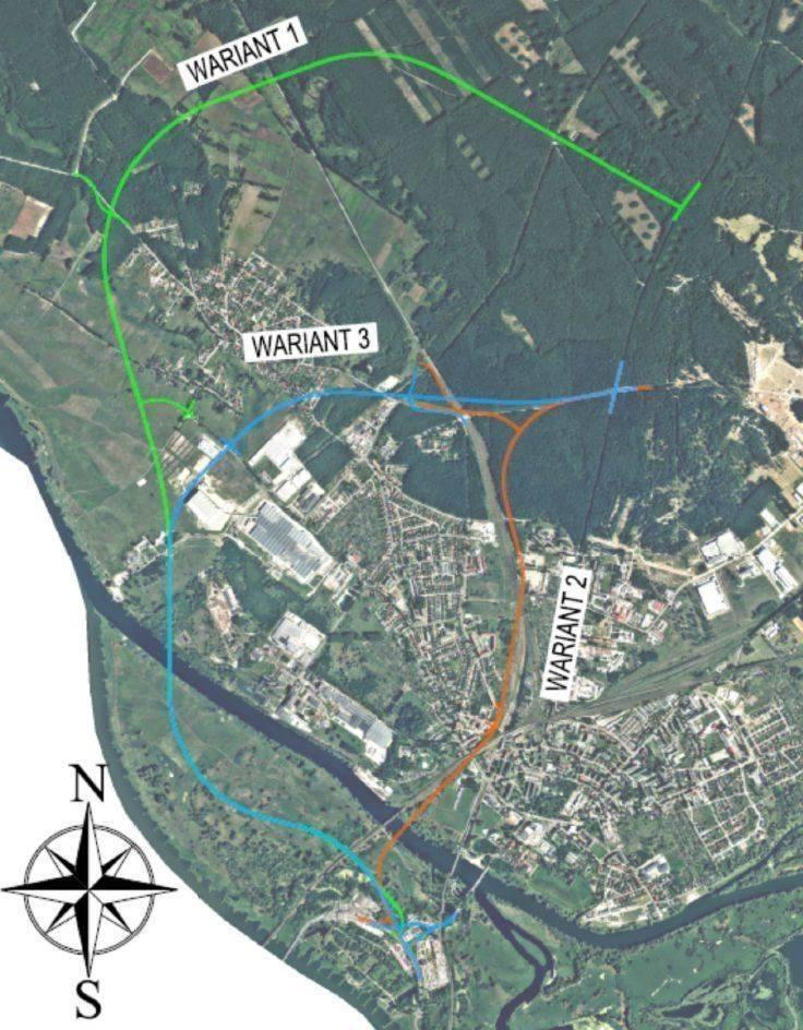 Obwodnica Kostrzyna będzie przebiegała tak, jak zakłada wariant zielony na tej mapie.