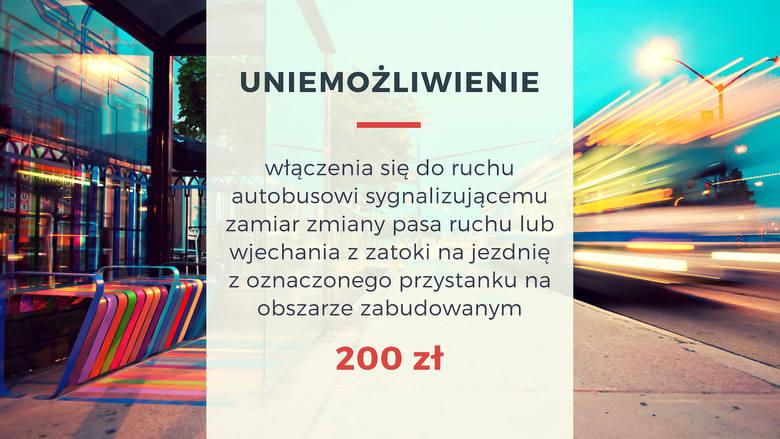 Za uniemożliwienie włączenia się do ruchu autobusowi sygnalizującemu zamiar zmiany pasa ruchu lub wjechania z zatoki na jezdnię z oznaczonego przystanku