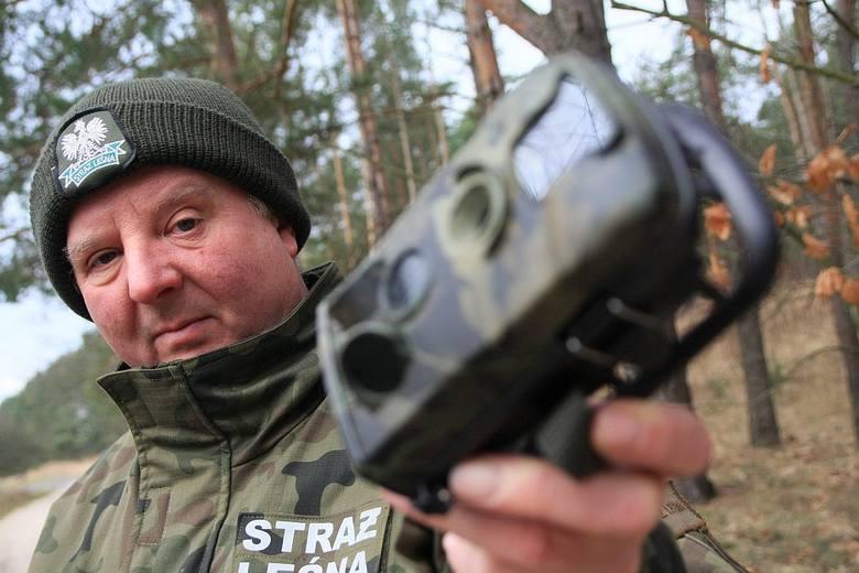 Komendant straży leśnej w Nadleśnictwie Międzyrzecz Zbigniew Jagoda prezentuje jedną z kilku kamer, które mają bronić naszych lasów przez kradzieżami