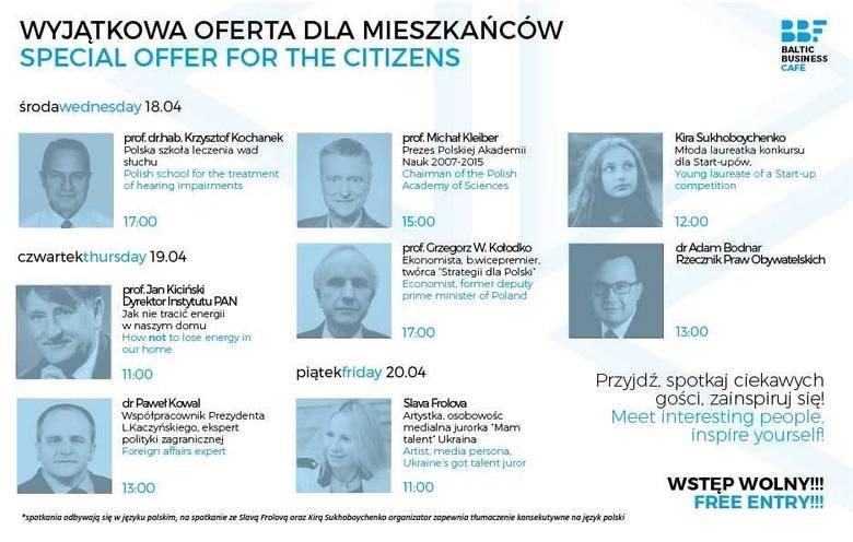 W ramach rozpoczynającego się w środę, 18 kwietnia 10. Baltic Business Forum mieszkańcy Świnoujścia przez trzy dni będą mieli okazję porozmawiać ze znanymi