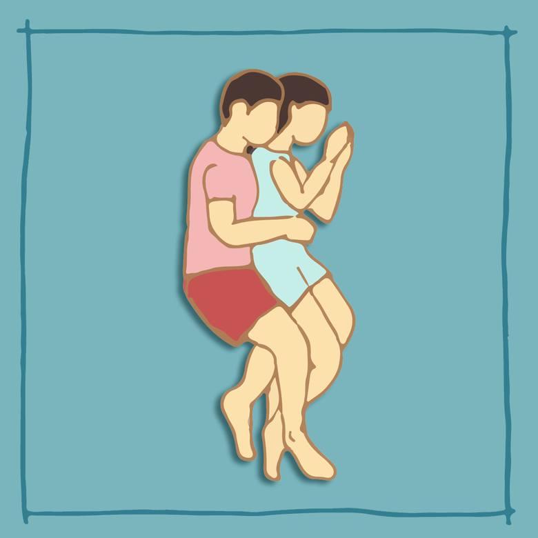 Według badań w tej pozycji śpi tylko 1/5 par.* Partner obejmujący przyjmuje w niej postawę ochronną względem drugiej osoby.Mimo, że osoba przytulana