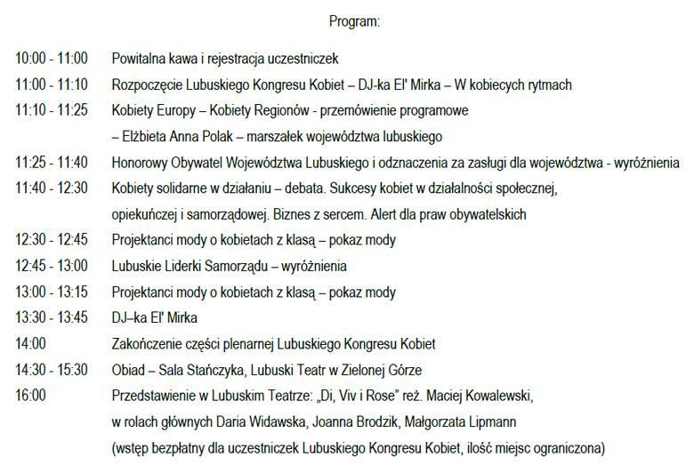 IX Lubuski Kongres Kobiet [PROGRAM]