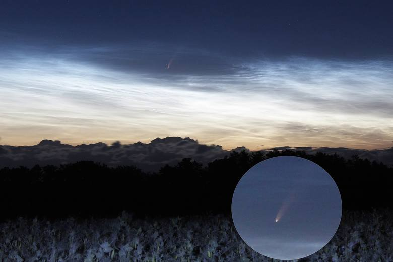Kometa Neowise nad Zalewem Wiślanym, sfotografowana z miejscowości Suchacz