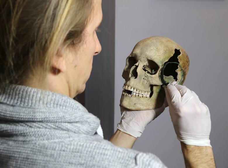Czaszka kobiety z epoki brązu, która została odkryta wraz z miedzianą biżuterią, przy kopaniu fundamentów domu