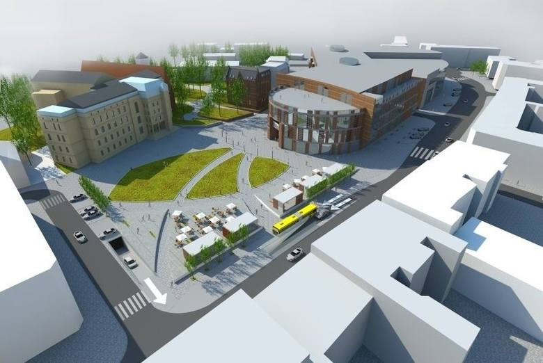 Wizualizacja placu Kopernika i Solaris Center w Opolu po rozbudowie z przełomu 2012 i 2013 roku.