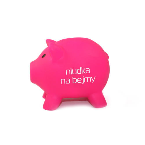 Pomysł na prezent - gadżet z PoznaniaNiudka na bejmy, czyli świnka-skarbonka na pieniądze. Wykonana z pcv, dostępna w kolorze różowym i niebieskim. Idealny