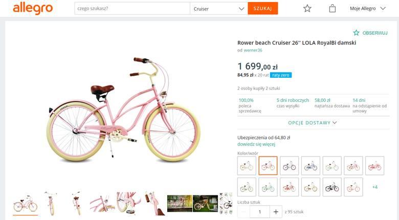 """W kategorii """"ROWERY"""" popularność zyskują stylowe Cruiser'y. Efektowne rowery, których nie da się nie zauważyć, z dużym wyborem kolorów."""