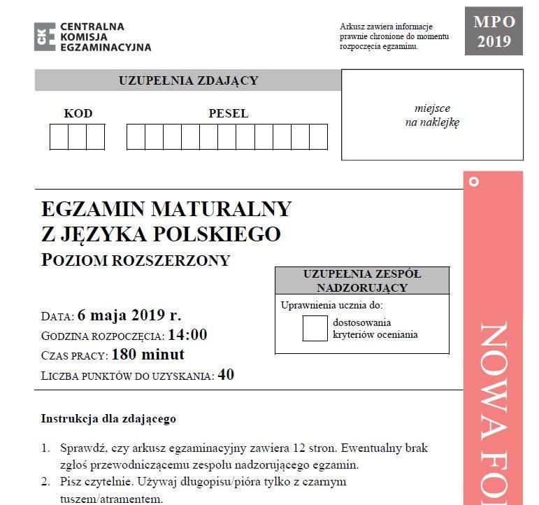 Matura 2019. JĘZYK POLSKI poziom rozszerzony 6.05.2019 - odpowiedzi i arkusz CKE. Matura z języka polskiego (rozszerzenie) - odpowiedzi