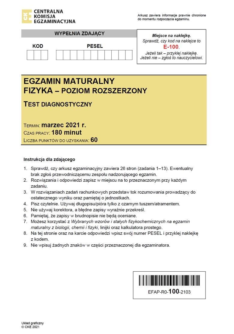 MATURA PRÓBNA Z FIZYKI - ODPOWIEDZI CKE >>>;nf