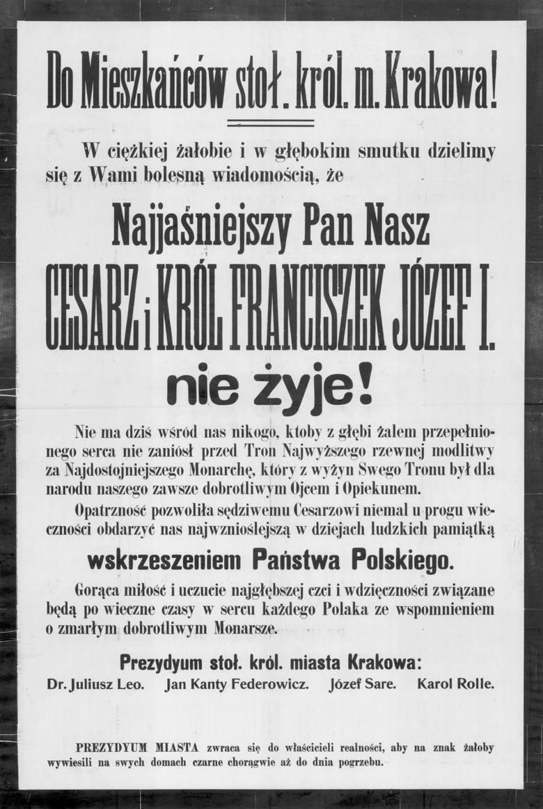 """""""Cesarz i król Franciszek Józef I nie żyje"""". Sto lat temu Kraków żegnał """"dobrotliwego monarchę"""""""