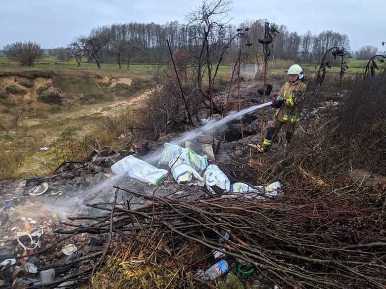 Guzy. Pożar dzikiego wysypiska śmieci. Spalił się hektar śmieci i krzaków [ZDJĘCIA]