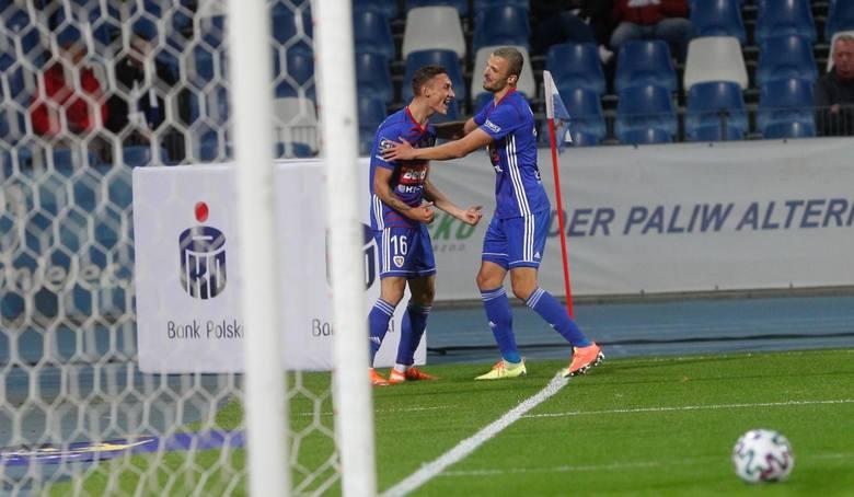 Radość Steczyka po pierwszym golu w ekstraklasie