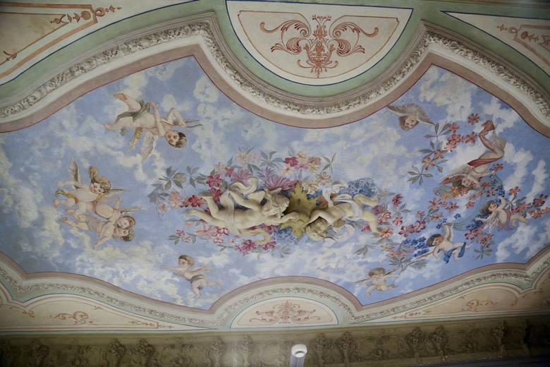 To jeden z pięknych sufitów. Został namalowany w stylu neobarokowym. Wnętrza  miały wystrój zgodny z ówczesną modą, stosowny do rangi i godności właściciela.