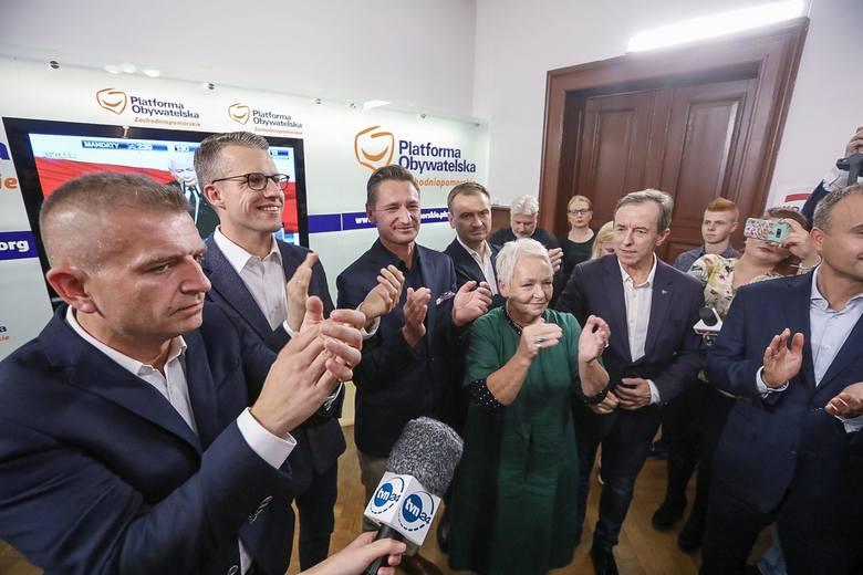 WYBORY - Szczecin: Relacja ze sztabu Koalicji Obywatelskiej. Pierwsze wyniki sondażowe [ZDJĘCIA]