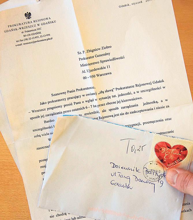 Anonimowy list zatrząsł gdańską prokuraturą