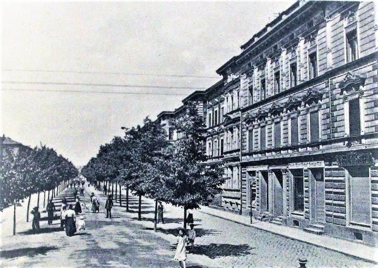 Aleja Wojska Polskiego na przełomie XIX i XX wieku, jeszcze bez komunikacji tramwajowej, którą uruchomiono w 1910 roku