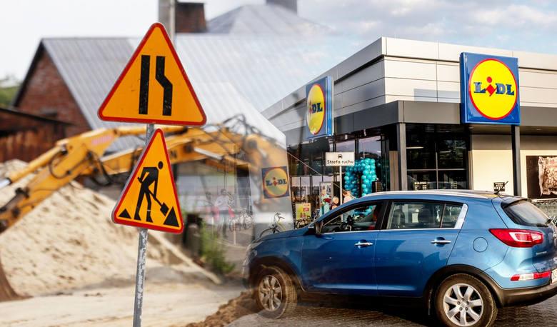 """Na Szwederowie trwa budowa nowego sklepu """"Lidl"""". Wraz z nim inwestor przebudowuje również część drogi. Powstanie dodatkowy pas ruchu, chodniki, parking,"""