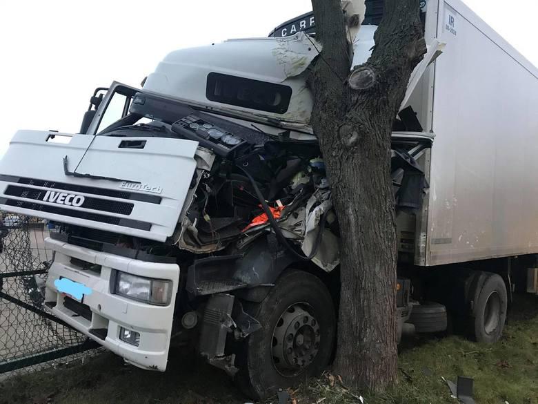 Nagórki Jabłoń. Ciężarówka uderzyła w drzewo. To cud, że kierowcy nic się nie stało [ZDJĘCIA]