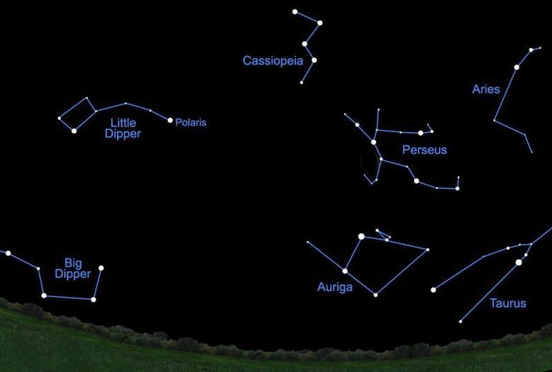 Perseidy będą spadać w tej części nieba - w rejonie gwiazdozbiorów Kasjopei, Perseusza i Żyrafy