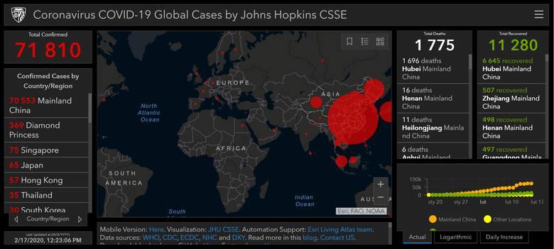 Mapa zasięgu epidemii chińskiego koronawirusa COVID-19 (poniedziałek, 17.02.20)