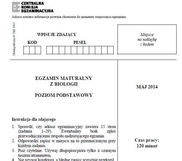 MATURA 2014 - BIOLOGIA (P. PODSTAWOWY) - ARKUSZ CKE, ZADANIA, ODPOWIEDZI