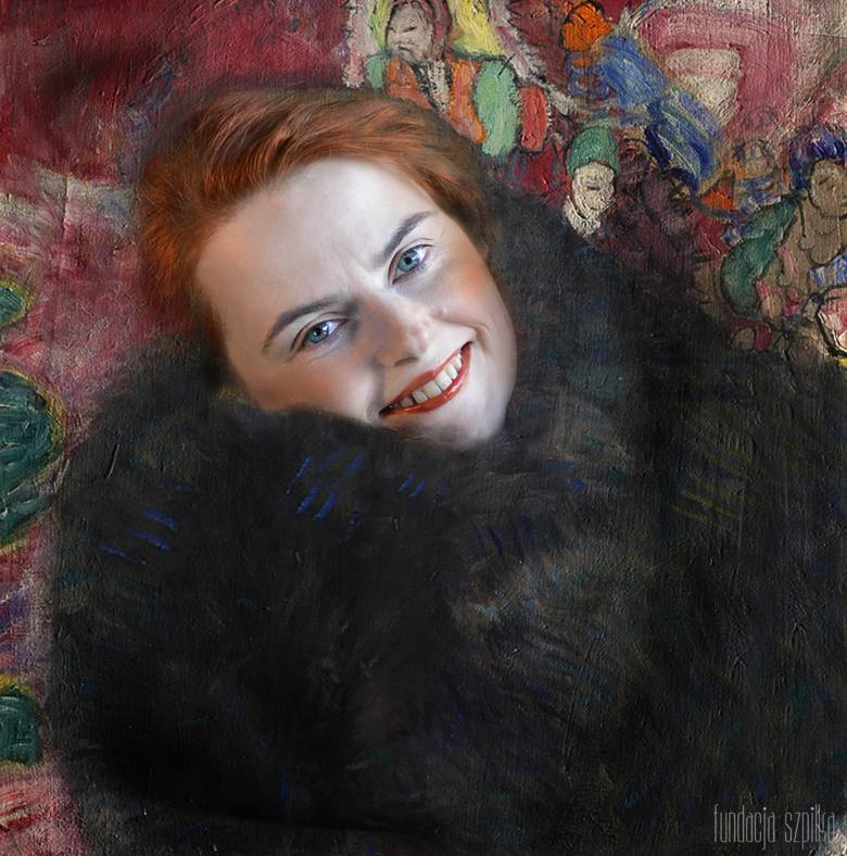 Switlana Kobiałka jako kobieta z mufką według Klimta.