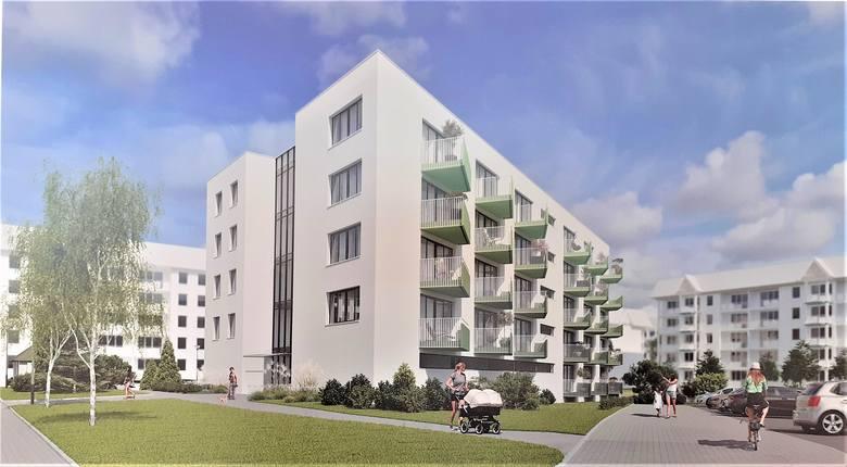 Wizualizacja projektowanego budynku. To 55 nowych mieszkań na Osiedlu Wenedów. Przetarg jest w toku.