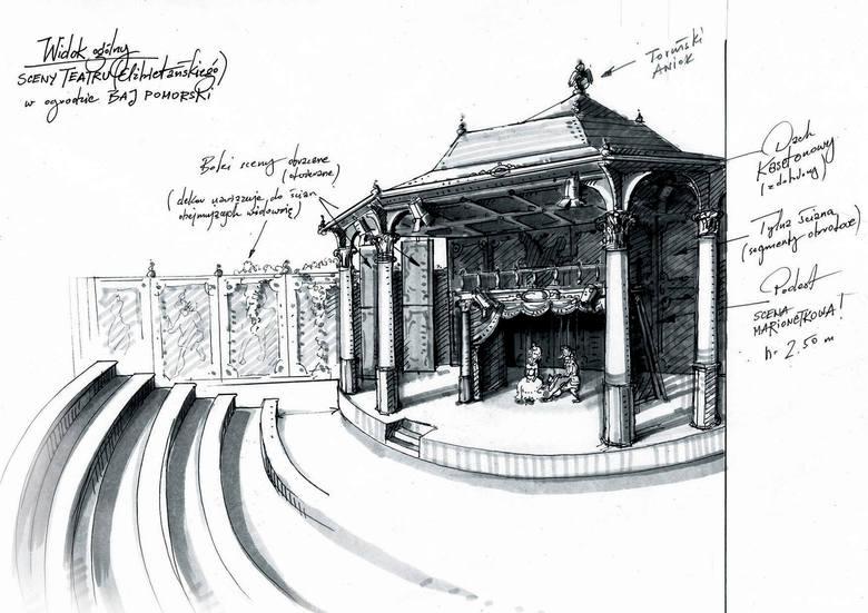 """Scena Szekspirowska w ogrodzie Baja Pomorskiego, stylizowana na londyński Teatr """"The Globe"""", ale z elementami korespondującymi z architekturą Torunia."""