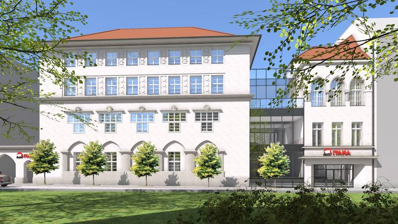 Siedziba biura podróży ITAKA pod adaptacji budynku przy ul. Damrota 2a - wizualizacja