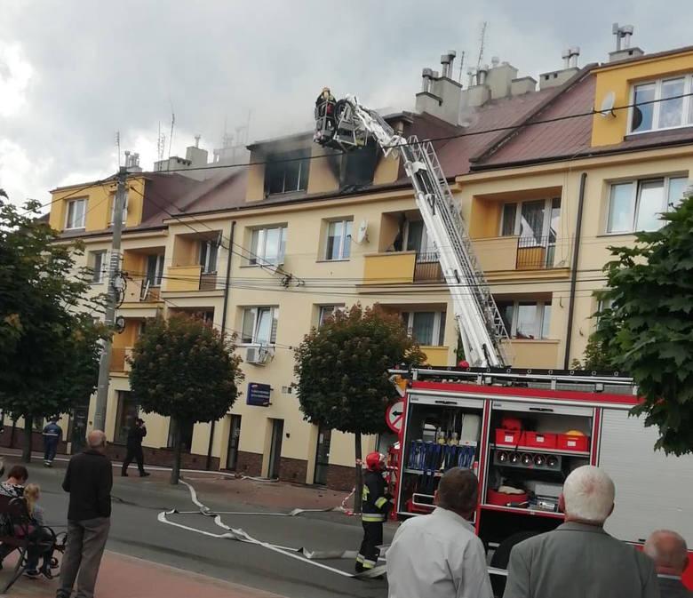Pożar w kamienicy w Sędziszowie Małopolskim.