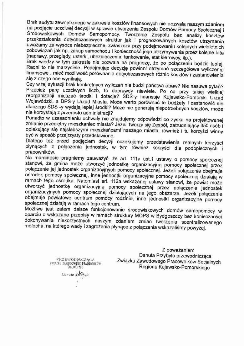 Związki zawodowe piszą do radnych w sprawie DPS-ów