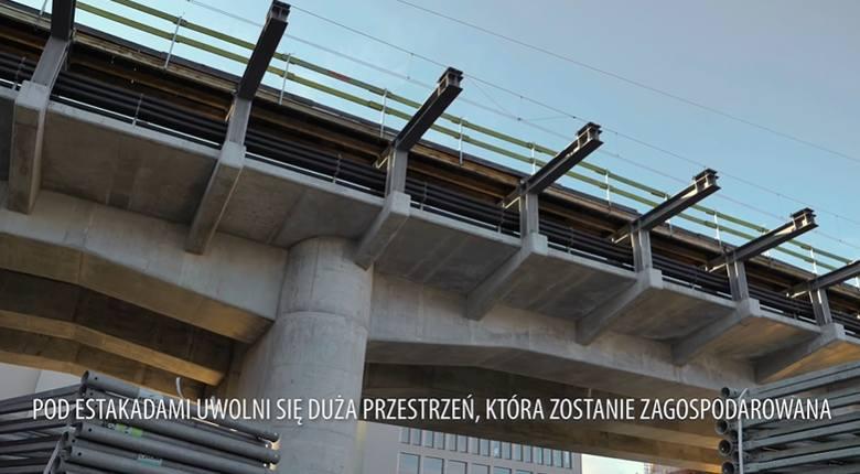 Kraków. Konstrukcja estakady kolejowej przy ul. Blich jest już gotowa. Postępują prace w rejonie Hali Targowej [ZDJĘCIA]